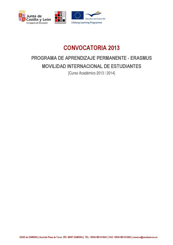 Bases Convocatoria Erasmus 2013 Alumnos By Escuela De Arte Y