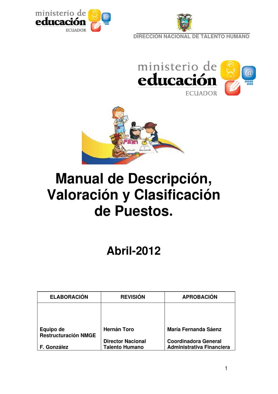 Manual de Puestos del MINEDUC - Ecuador by Coordinacion Tecnica ...