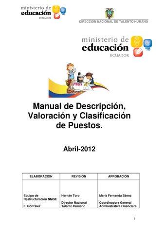 Manual De Puestos Del Mineduc Ecuador By Coordinacion