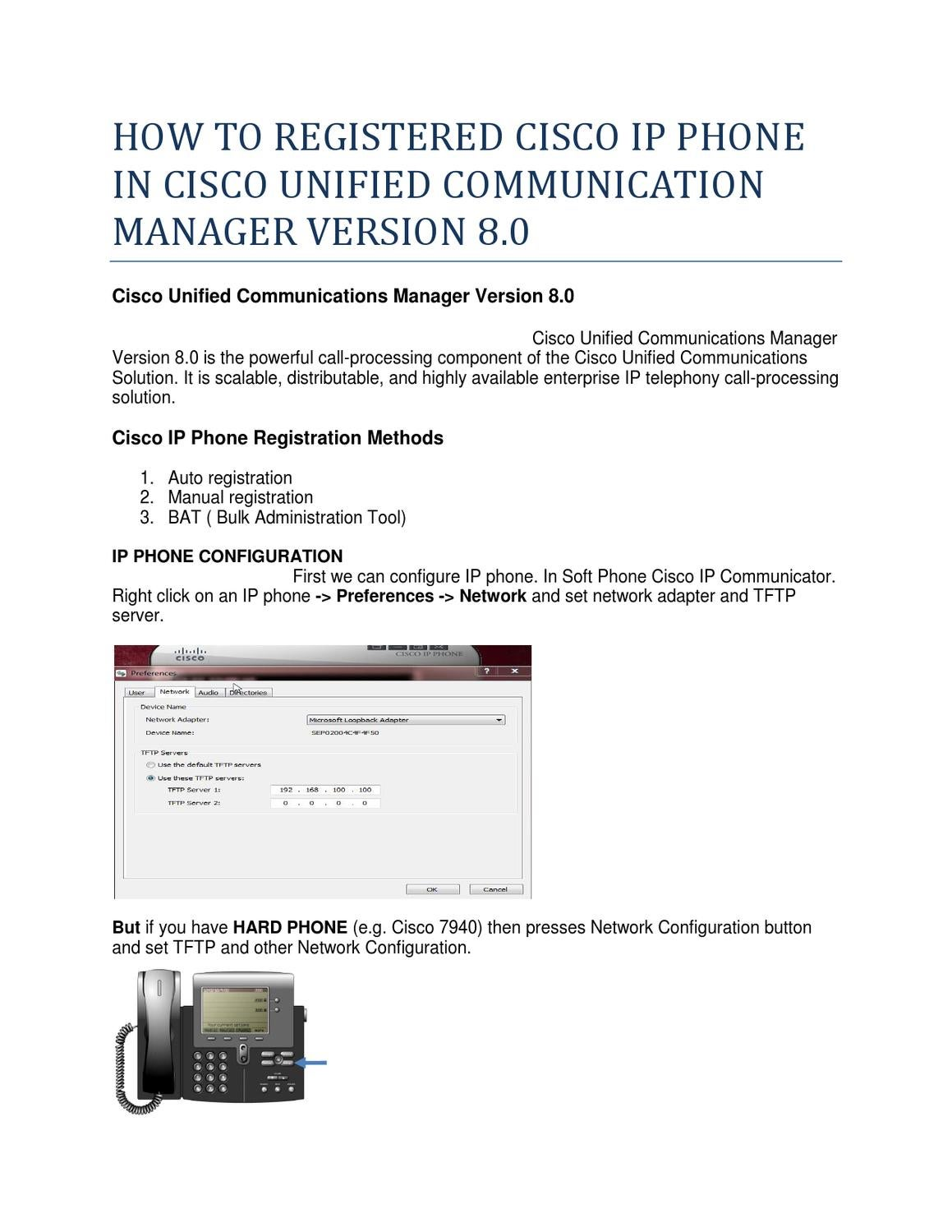 HOW TO REGISTERED CISCO IP PHONE IN CISC O