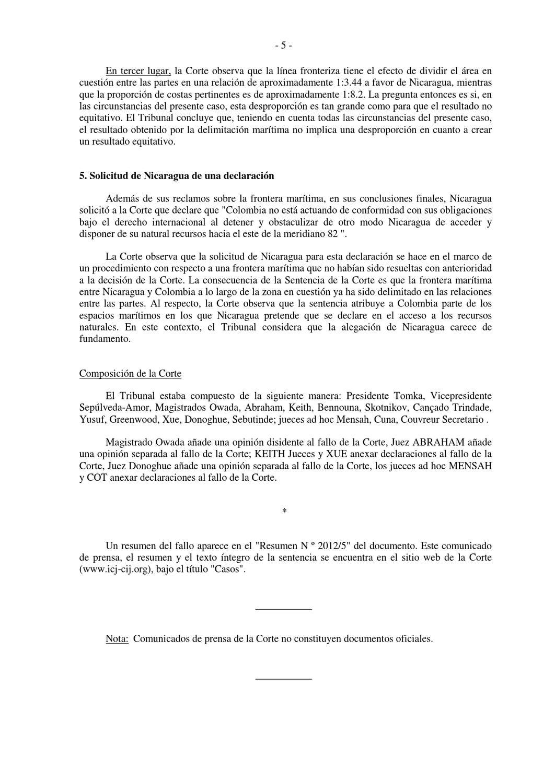 Fallo emitido por la Haya sobre la disputa Marítima Nicaragua ...