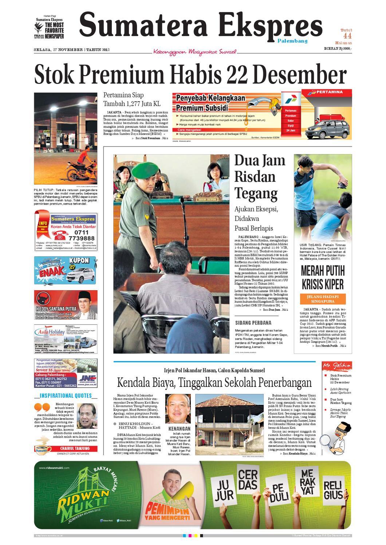 Sumatera Ekspres 27 November 2012 By Yudha Pranata Issuu Charger Warna Warni Merk Hasan Sj0048