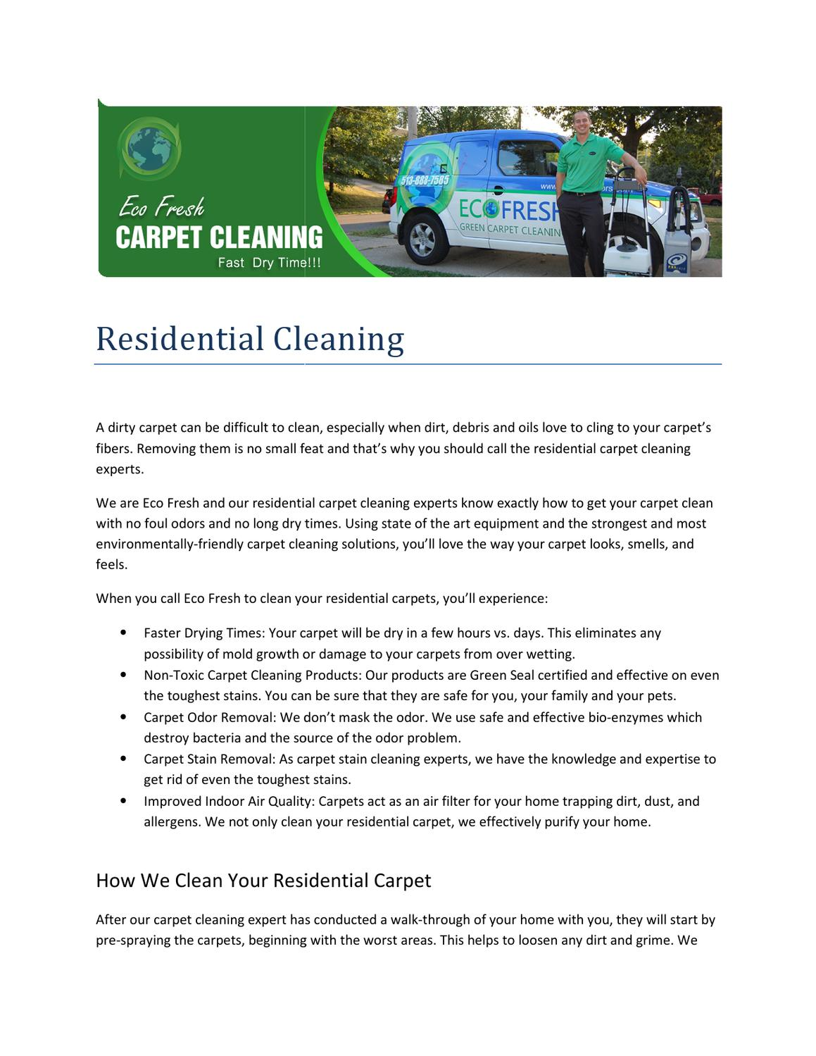 Eco-friendly carpet cleaning solutions that are no less than traditional cleaning! by Eco Fresh - issuu