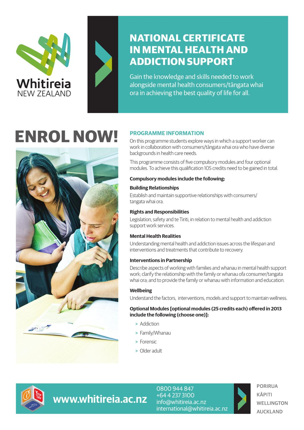 National Certificate In Mental Health And Addiction Support By