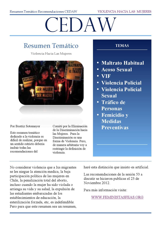 Resumen Temático Recomendaciones CEDAW sobre Violencia by Beatriz ...