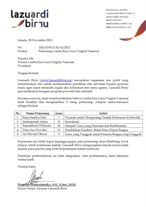 Surat Keterangan Pemenang Lomba Esai Guru Tingkat Nasional By Omeoo Media Issuu