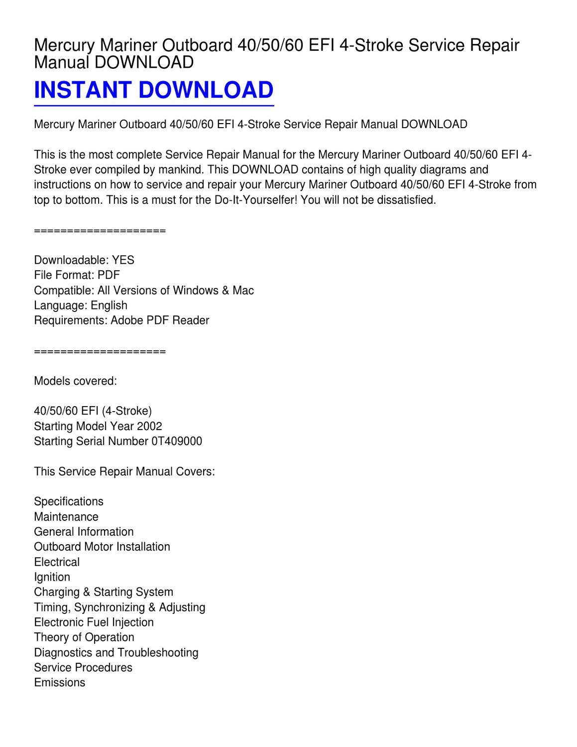Mercury 60 Efi Wiring Diagram Trusted Schematics Mariner Outboard 40 50 4 Stroke Service Repair Manual Hp