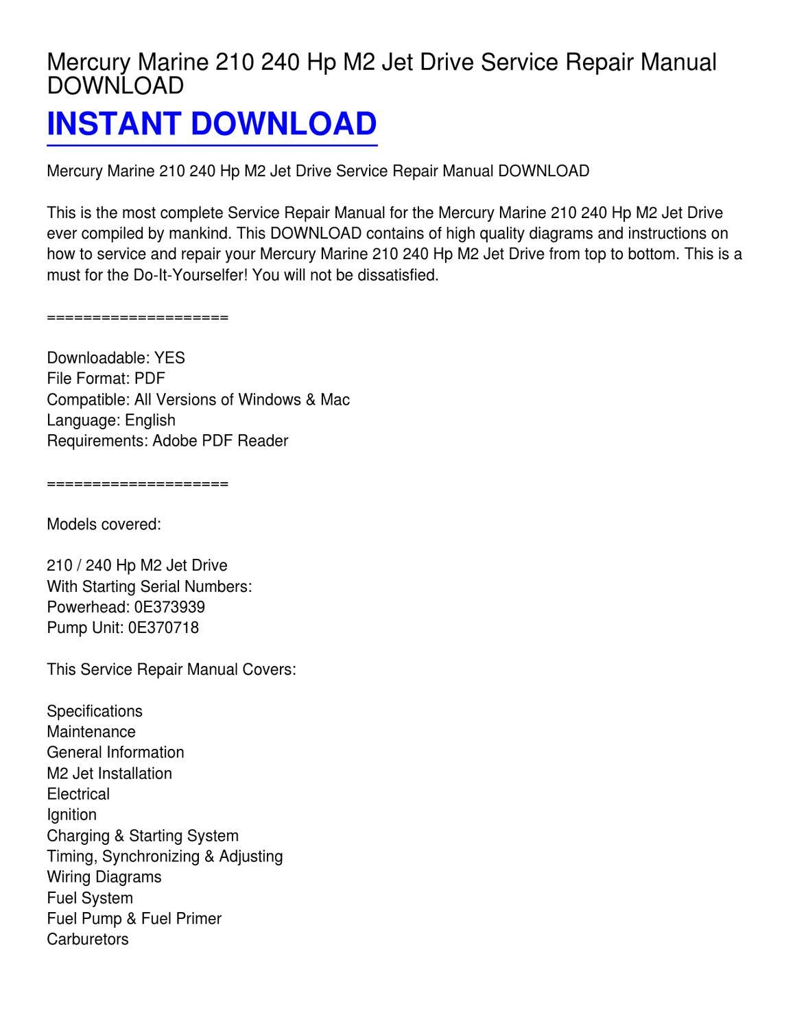 mercury marine 210 240 hp m2 jet drive service repair manual rh issuu com