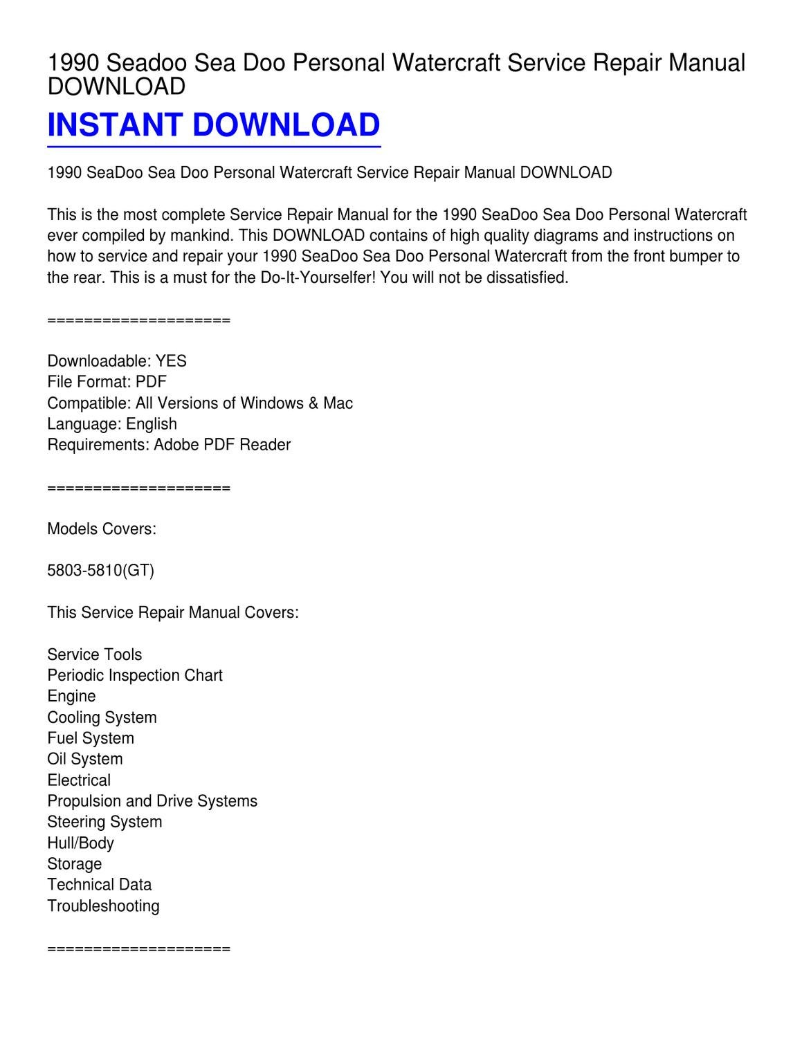 1990 Seadoo Sea Doo Personal Watercraft Service Repair Manual DOWNLOAD by  Lester Church - issuu