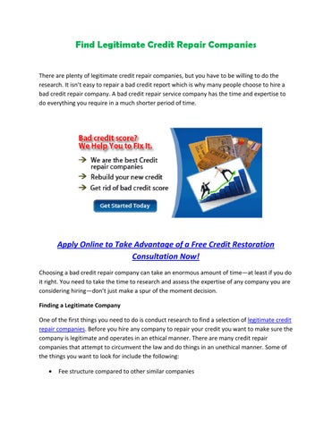 Legitimate Credit Repair Companies >> Ow To Restore Your Credit Score By Ashley Petersen Issuu