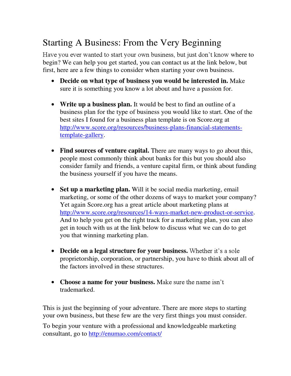 Starting A Business From The Beginning By Richard Wade Issuu - Scoreorg business plan template