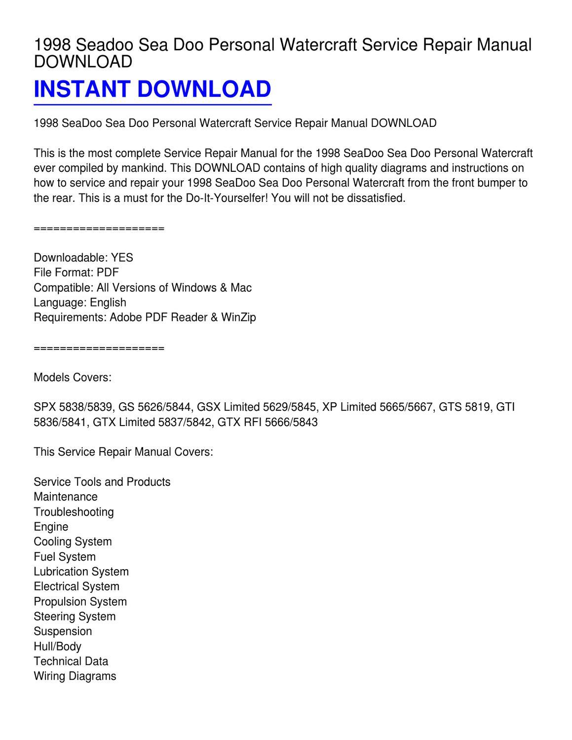 1998 seadoo sea doo personal watercraft service repair manual download by  kevin fowler - issuu