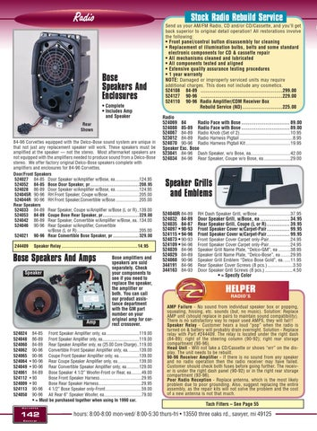 Corvette Central C4 (84-96) Corvette Parts Catalog by Corvette ...