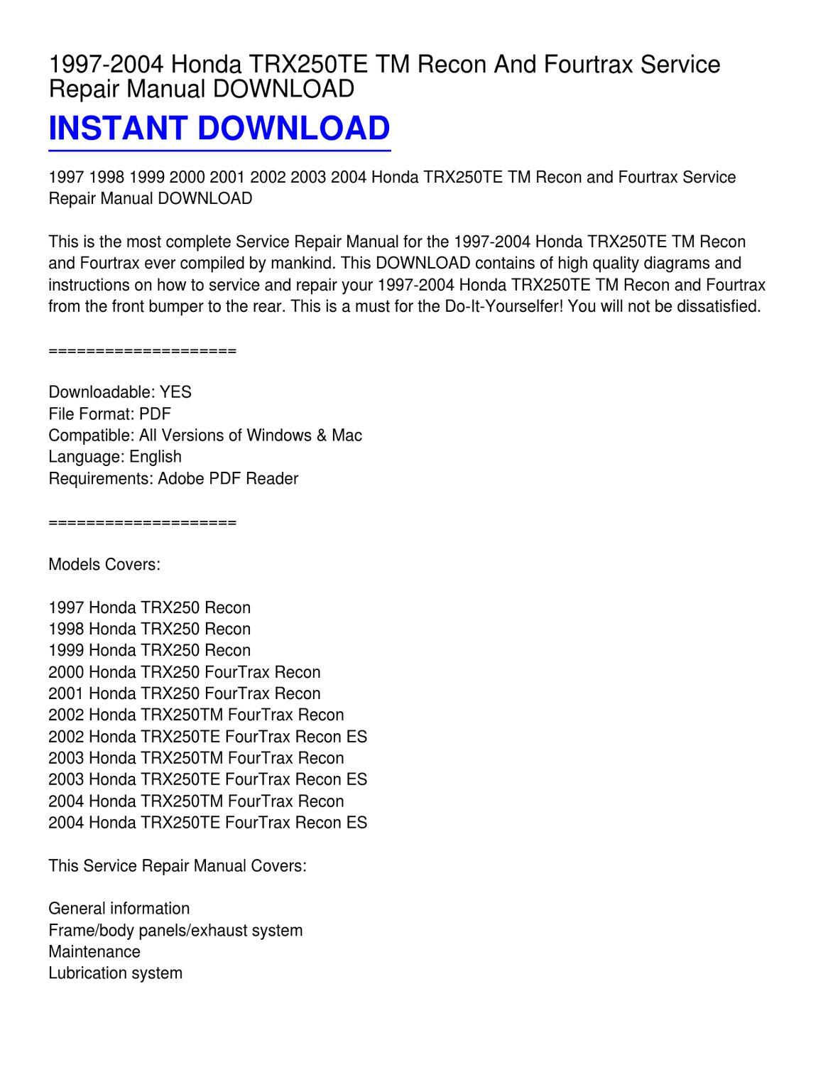 1997 2004 honda trx250te tm recon and fourtrax service. Black Bedroom Furniture Sets. Home Design Ideas