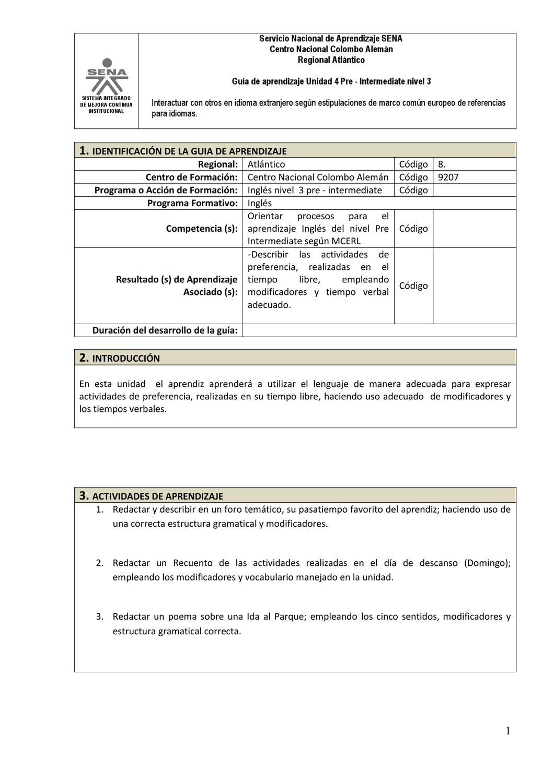 Guía De Aprendizaje Nivel Pre Intermediate Unidad 4 By