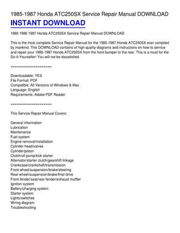 1985-1987 honda atc250sx service repair manual download
