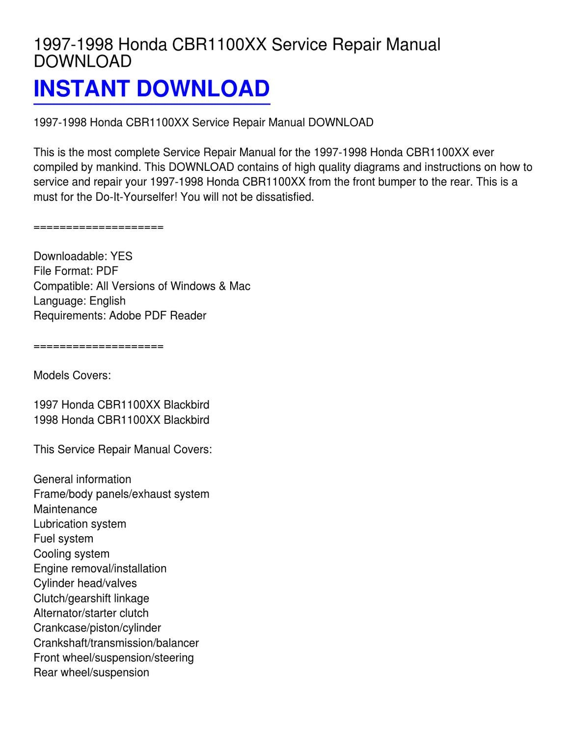 1997-1998 Honda CBR1100XX Service Repair Manual DOWNLOAD by Phillip Serrano  - issuu