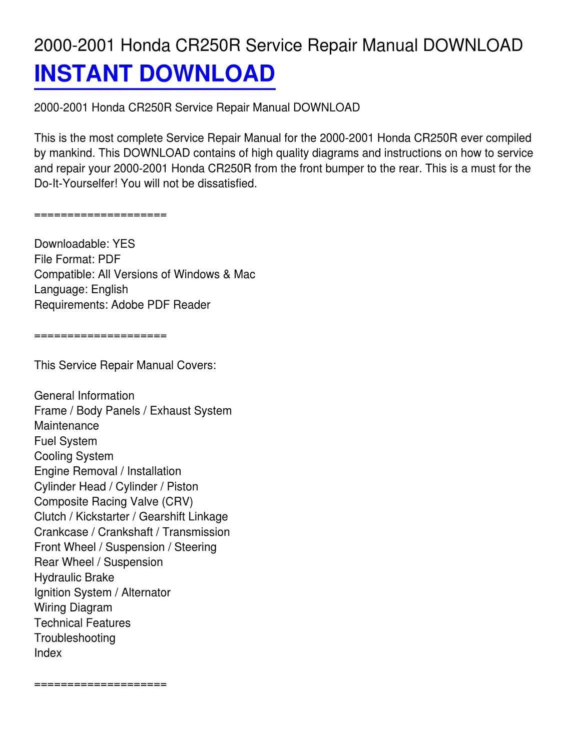 2000 Cr250r Wiring Diagram Trusted Honda Ct110 2001 Service Repair Manual Download By Gloria