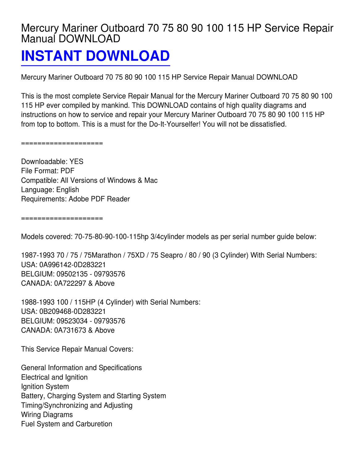 Mercury Force 70 Wiring Diagram And Schematics Hp Outboard Manual Source Circuit Symbols U2022