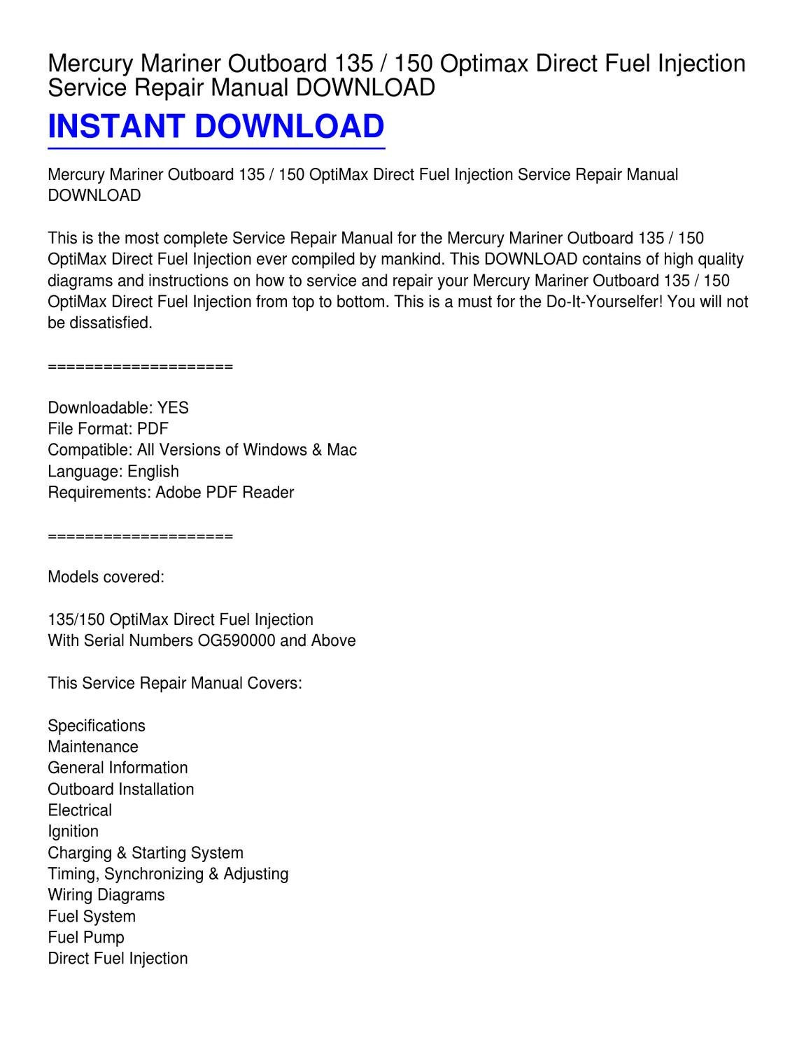 mercury mariner outboard 135 _ 150 optimax direct fuel injection service  repair manual download by kevin fowler - issuu