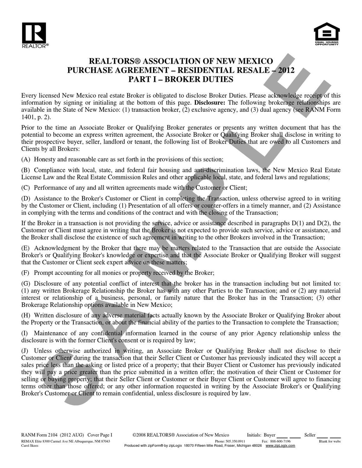 Purchase Agreement Sample For New Mexico By Carol Skees