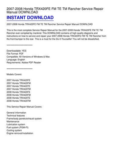 2007 2008 honda trx420fe fm te tm rancher service repair manual rh issuu com 2006 honda rancher service manual Honda Rancher Vacuum Line