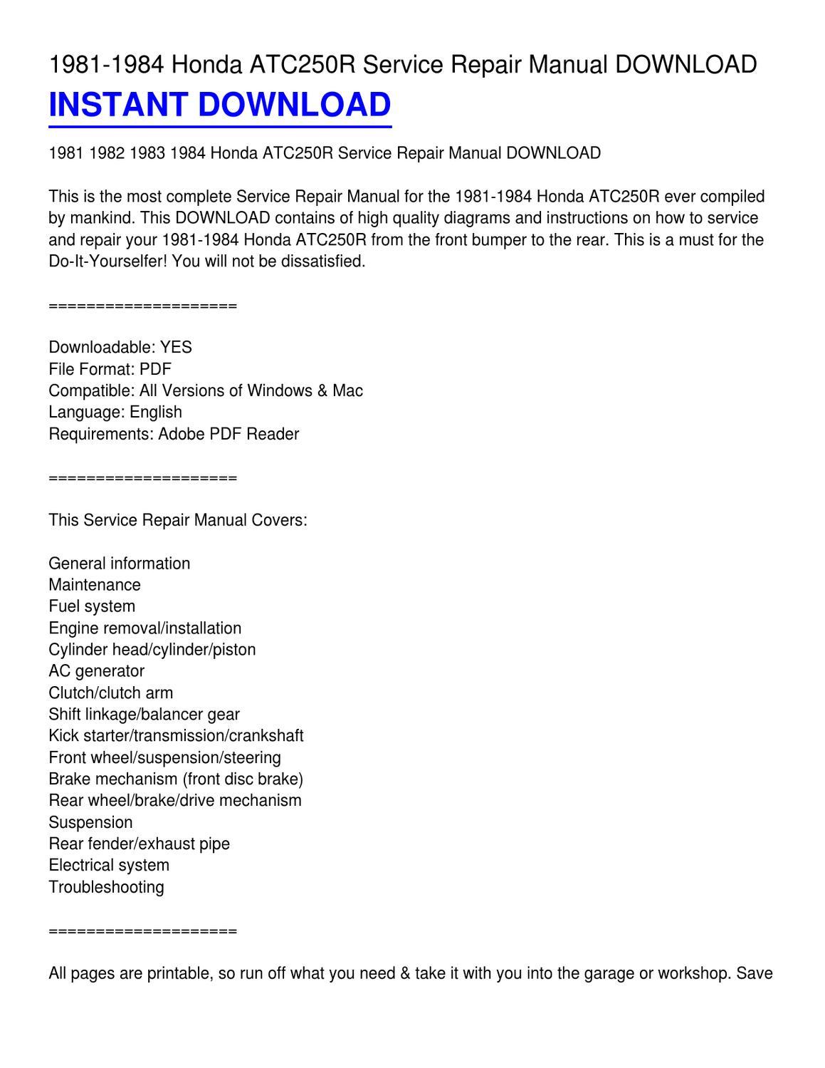 1981-1984 Honda ATC250R Service Repair Manual DOWNLOAD by Lester Church -  issuu