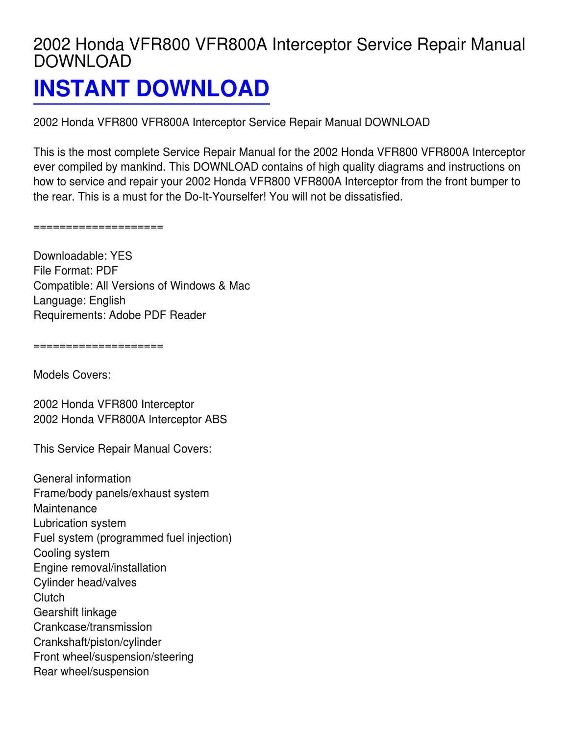 2002 Honda VFR800 VFR800A Interceptor Service Repair Manual ...