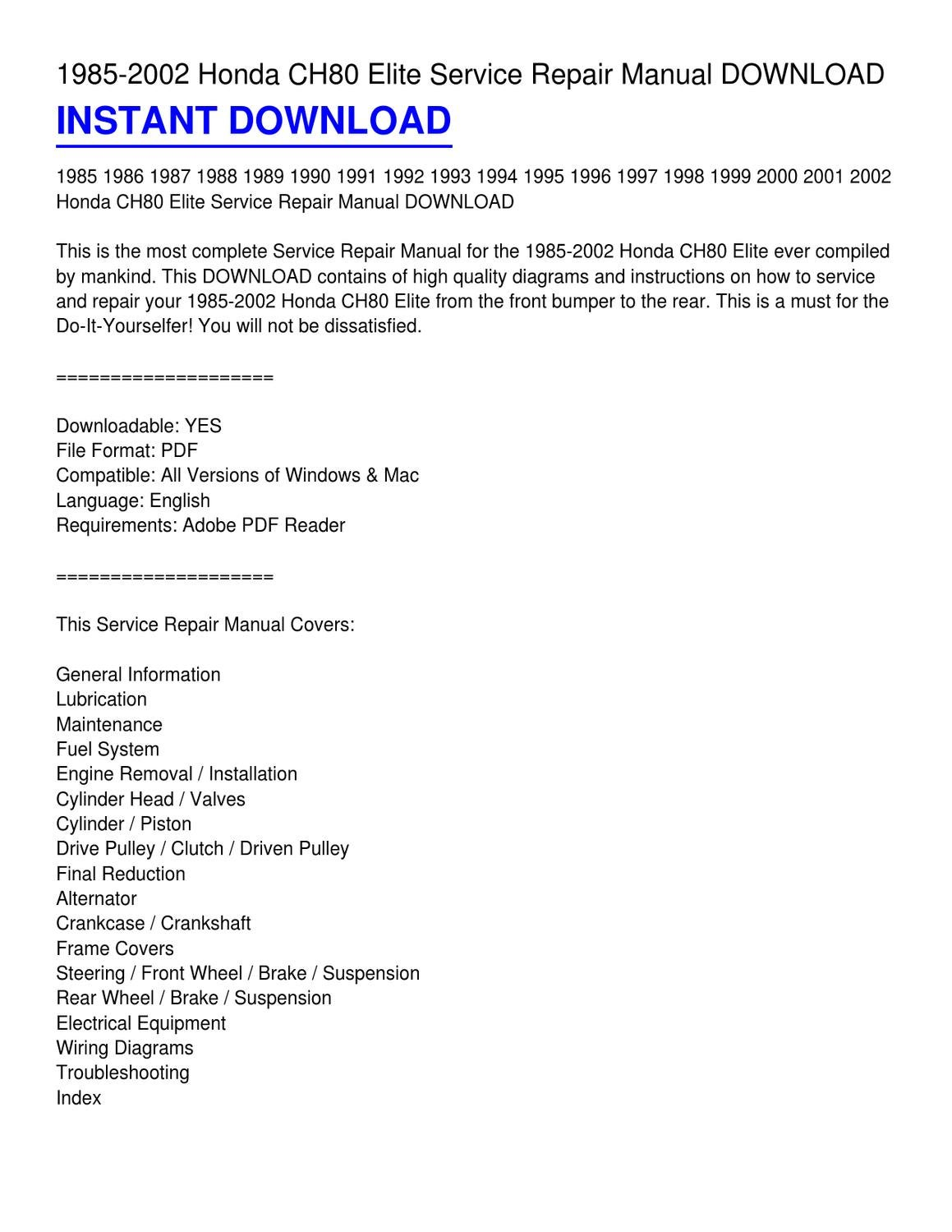 pdfscooter scootermasters text document  virtually aero  85aero80rightside-3-3-3-2  honda factory service manual 1985 2006 ch80  elite service  honda chf50