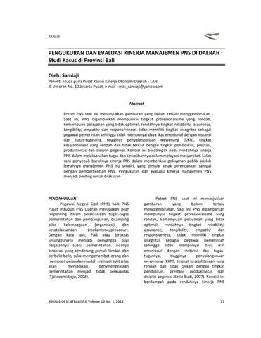 Pengukuran Dan Evaluasi Kinerja Manajemen Pns Di Daerah By Samiaji