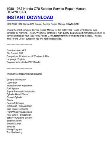honda c70 repair manual download