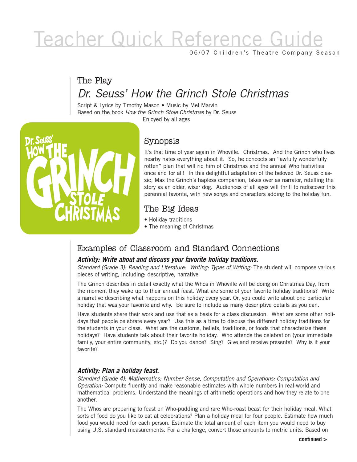 How The Grinch Stole Christmas Lyrics.The Grinch Study Guide By Fryni Marvel Issuu