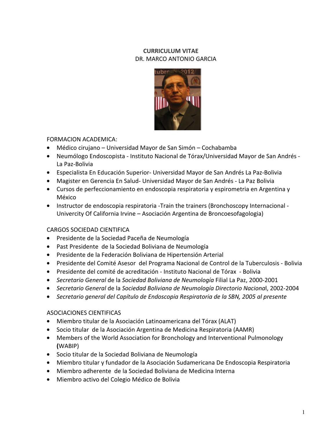 Cvmarcogarciaendoscopia By Asociacion Latinoamericana De Torax Alat