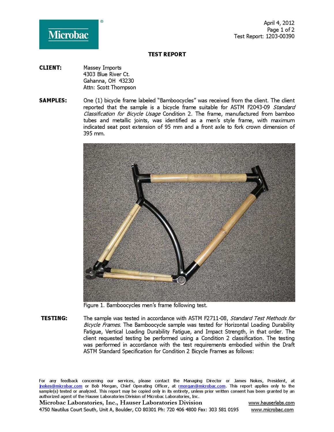 Standard Test Methods for Bicycle Frames by Microbac by Bamboocycles