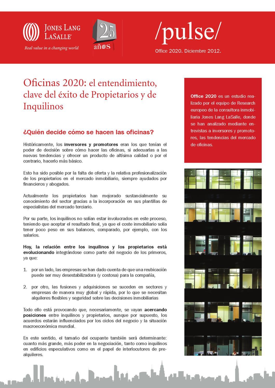 Oficinas 2020: El entendimiento, clave del éxito de Propietarios y ...