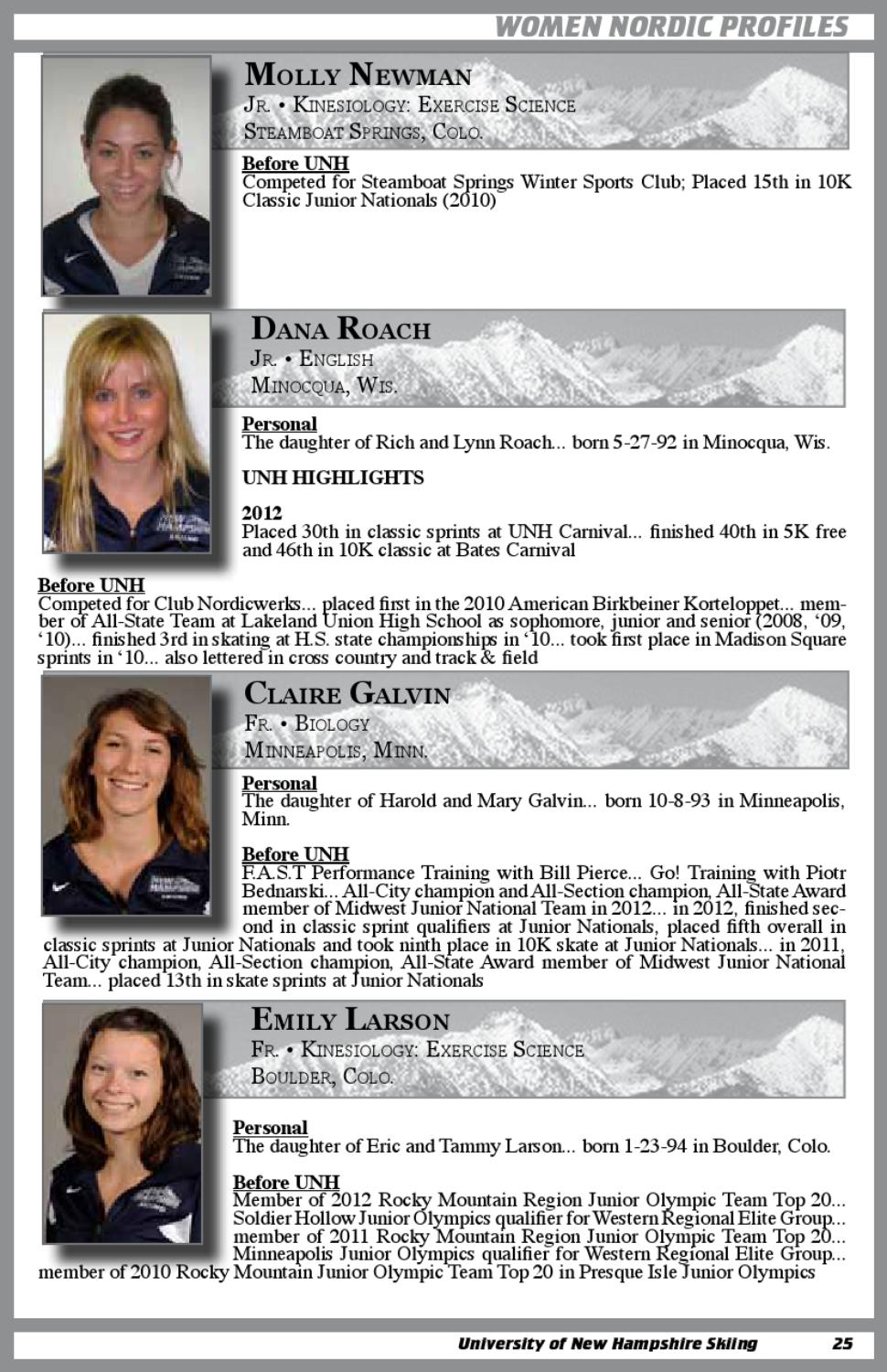 UNH Skiing 2012-13 Media Guide by University of New