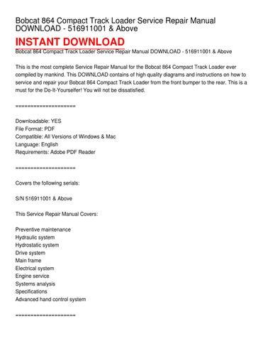 Bobcat 864 Compact Track Loader Service Repair Manual Download