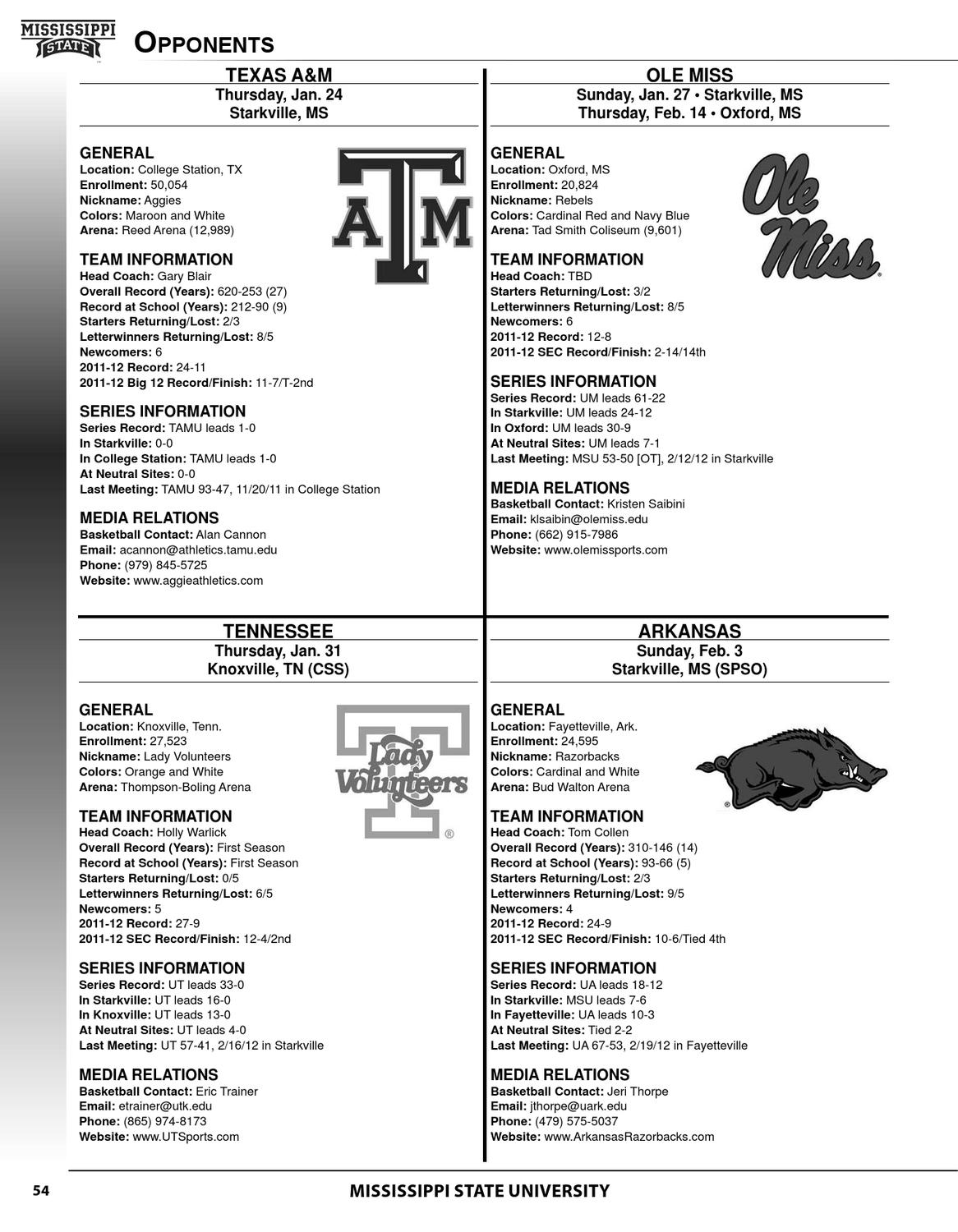 2012-13 Mississippi State Women's Basketball Media Guide by