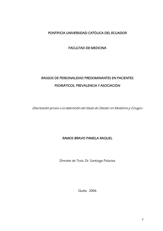 Rasgos de personalidad en pacientes con psoriasis by Santiago ...