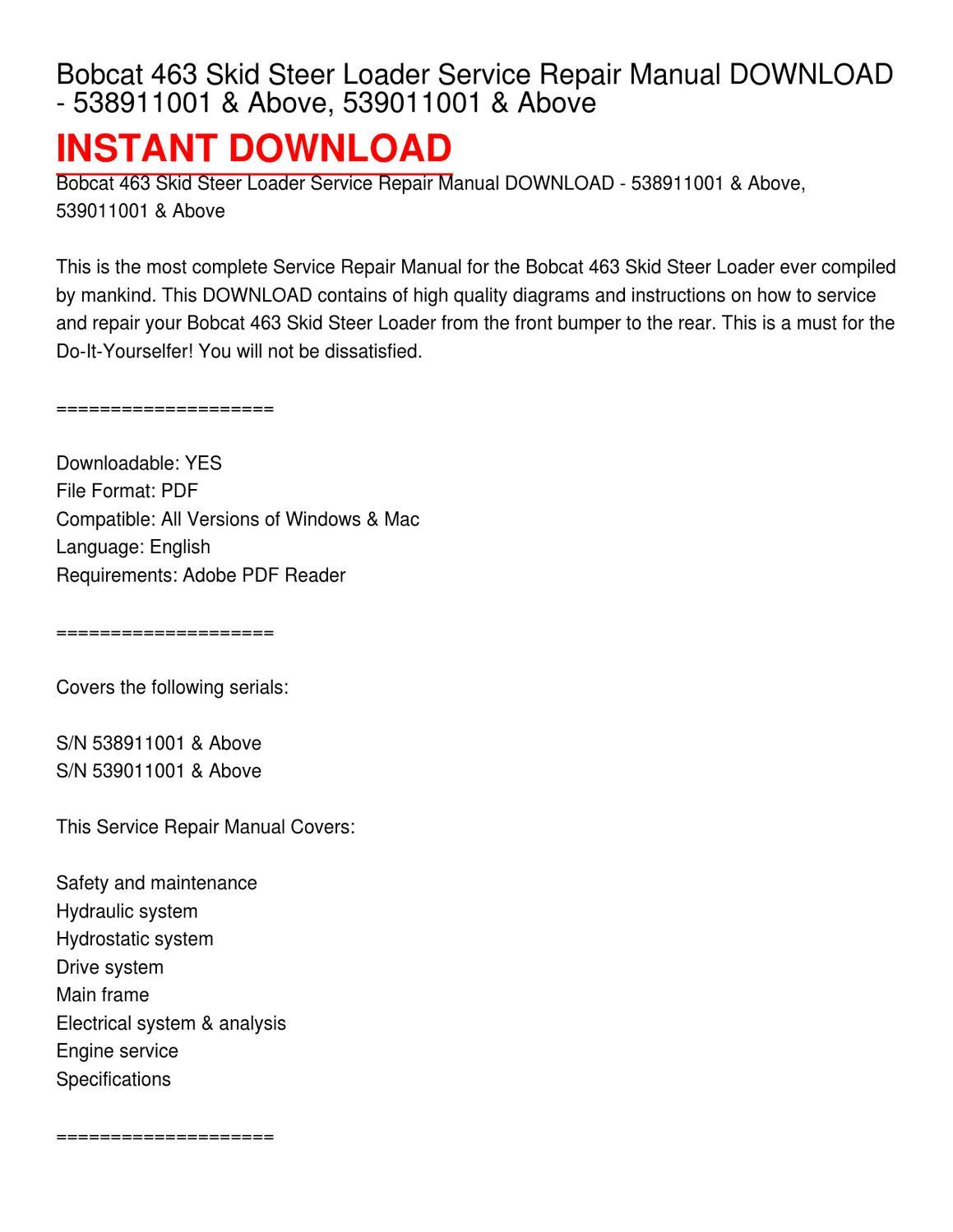 463 Bobcat Repair Manual Pdf Schematic Wiring Diagrams Diagram Skid Steer Loader Service Download Rh Issuu Com 331 Parts List Excavator