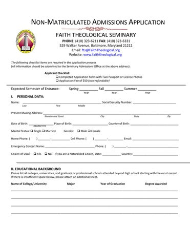 Faith Theological Seminary non-matriculated student application by