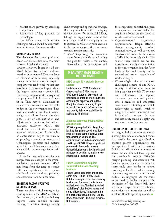 Smart Logistics - December 2012 by Infomedia18 - issuu
