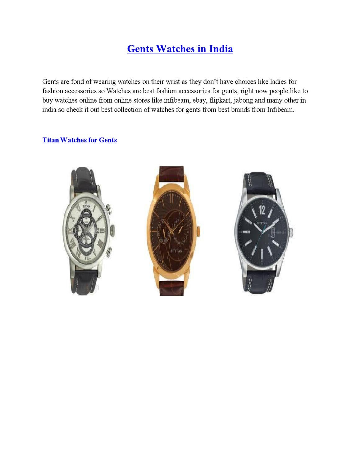 Online Shopping of Gents Watches in India by Ayesha Kedar
