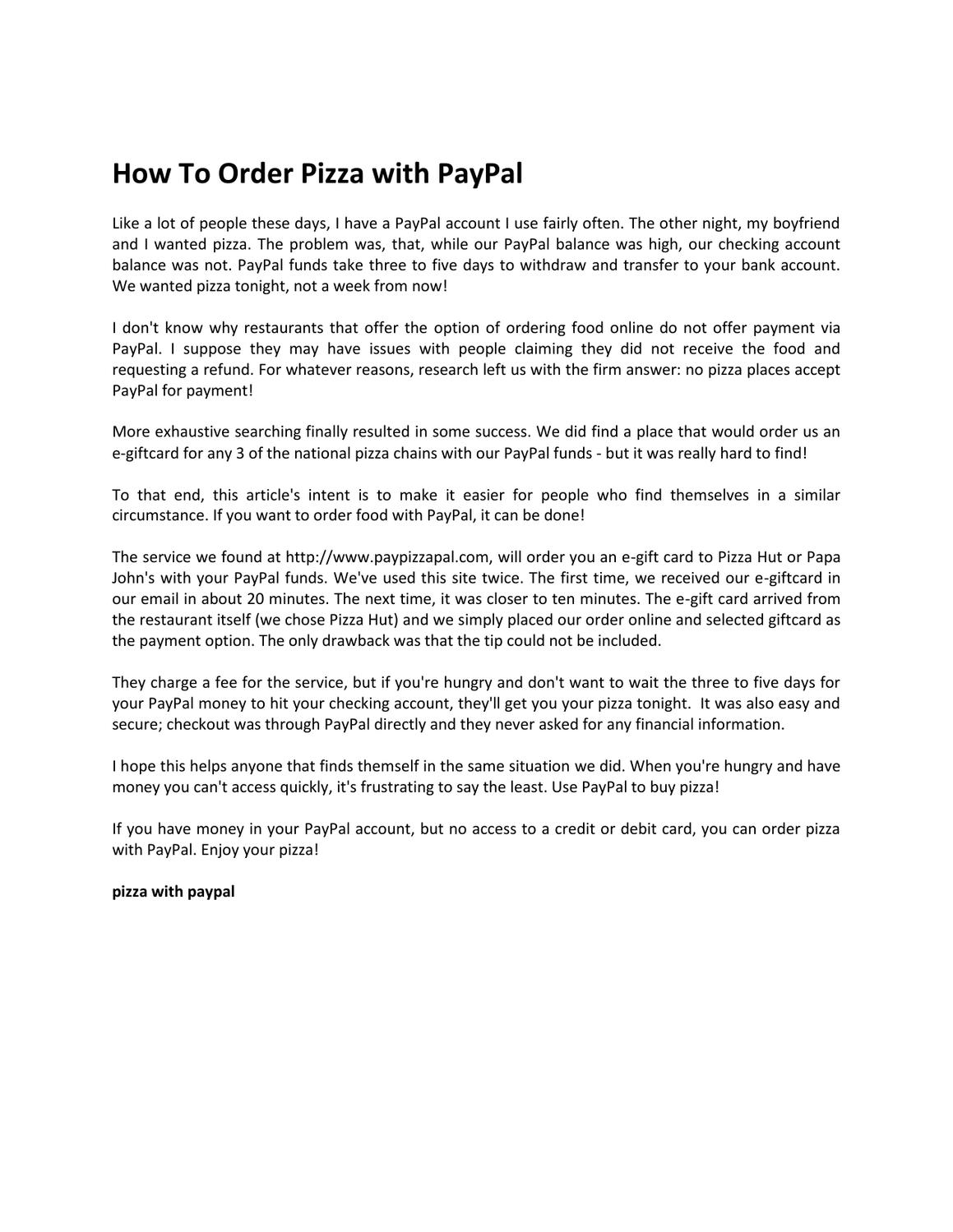 Does Pizza Hut Accept Paypal