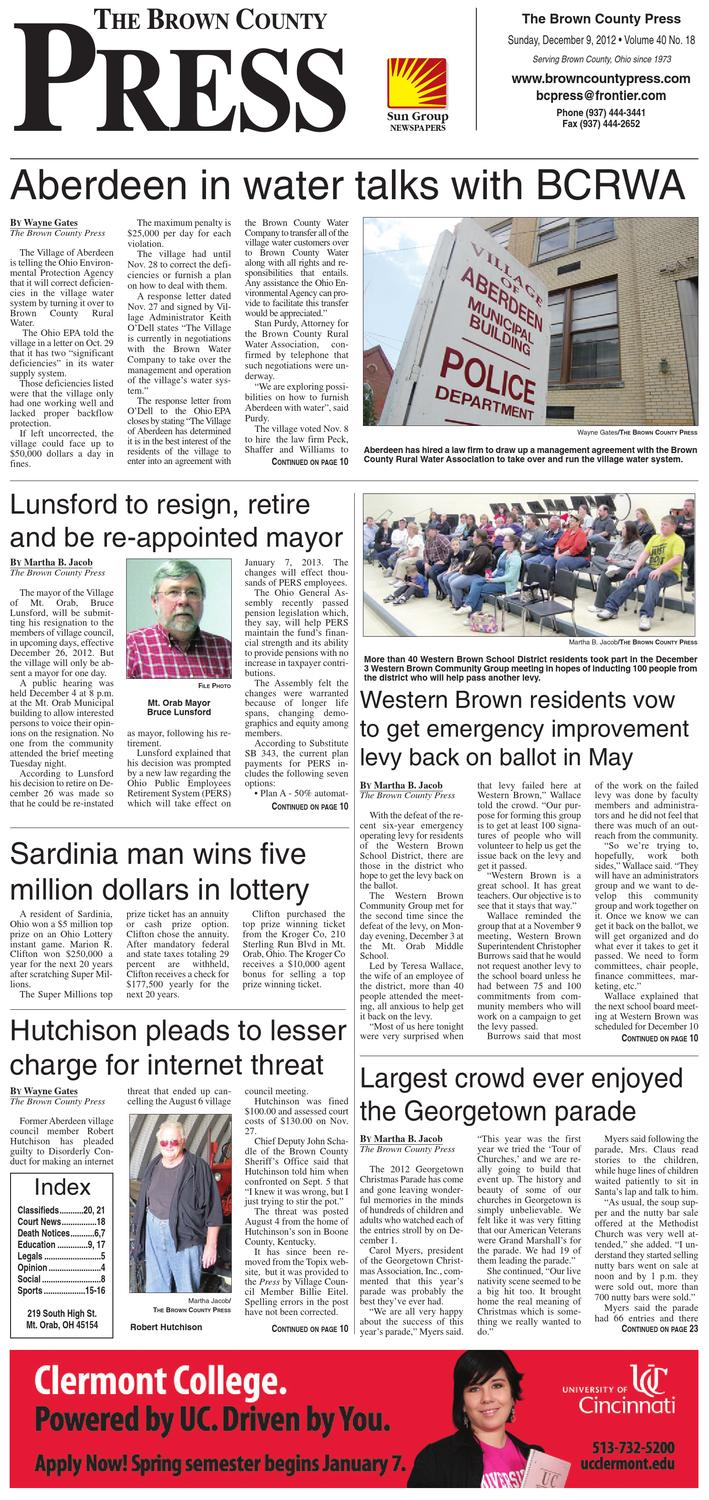 Ohio brown county sardinia - The Brown County Press December 9 2012 By Clermont Sun Publishing Company Issuu