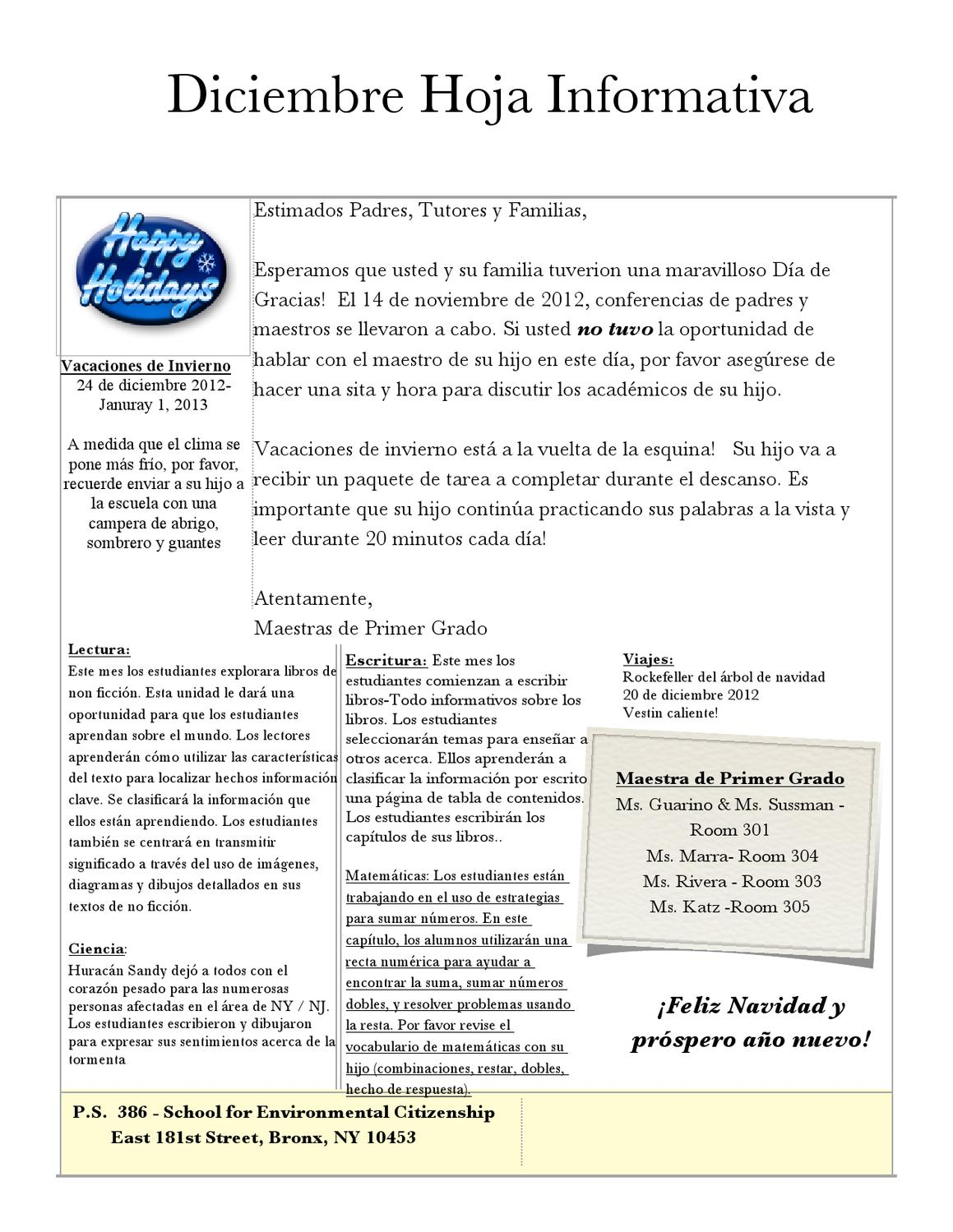 386 December 1st grade news letter spanish by Daniel Hocker - issuu