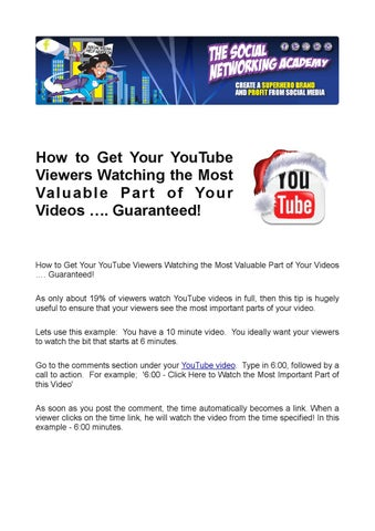 How to Get Your Youtube Viewers Watching the Most Valuable