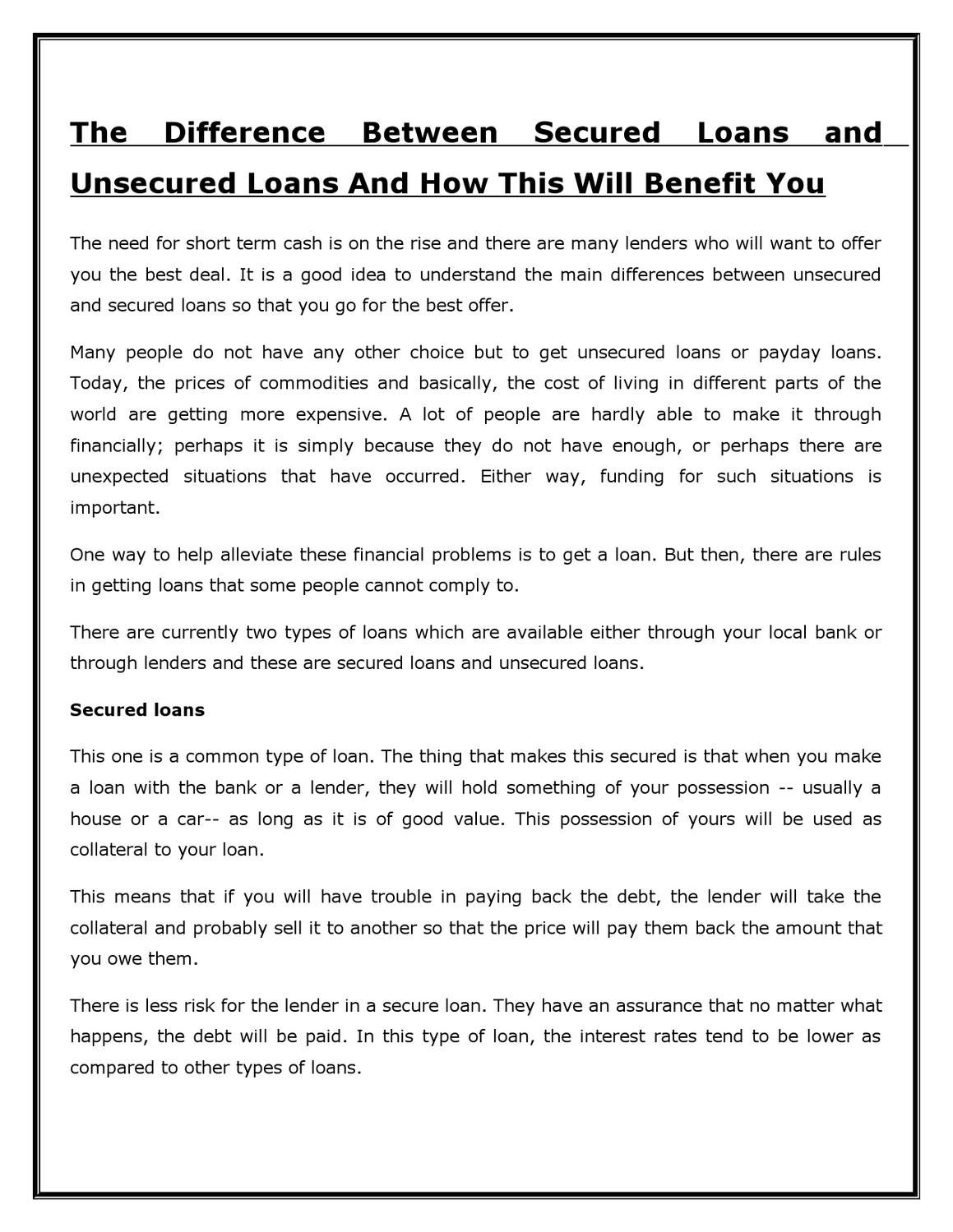 The Difference Between Secured Loans and Unsecured Loans And How This Will Benefit You by Henry ...