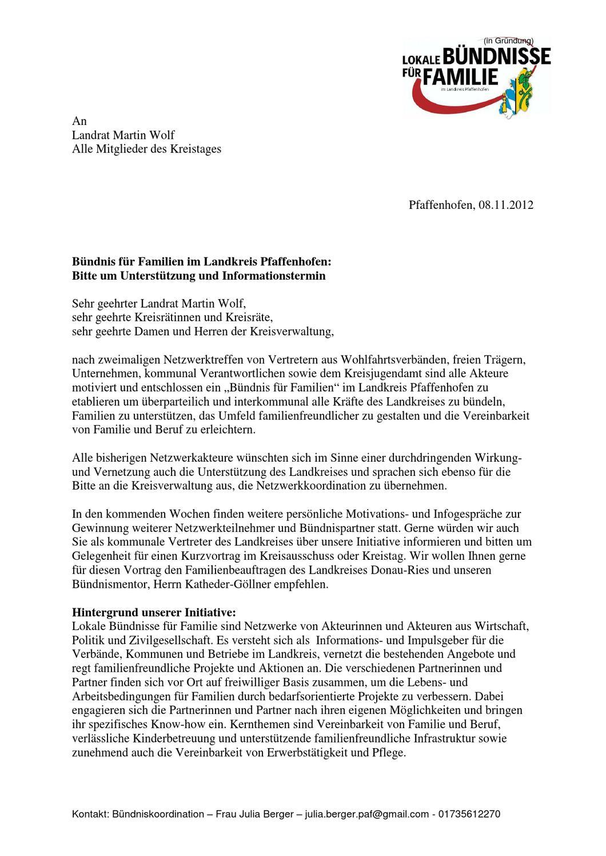 Anschreiben an Landrat und Kreistag zum Bündnis für Familien im ...