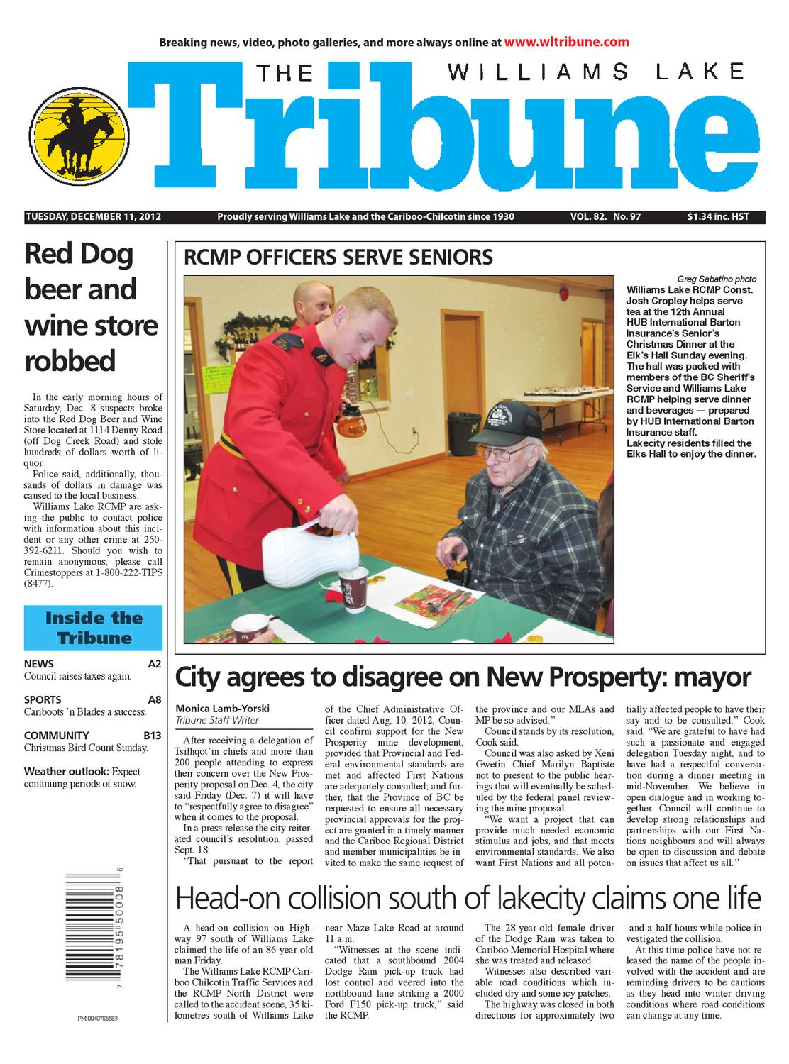Williams Lake Tribune December 11 2012 By Black Press Media